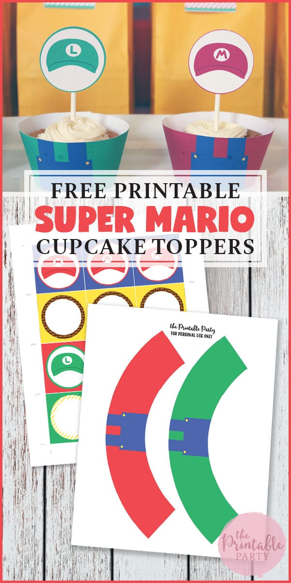 Free Printable Super Mario Cupcake Wrappers and Cupcake Toppers. Perfect for Mario Birthday Party Decorations.