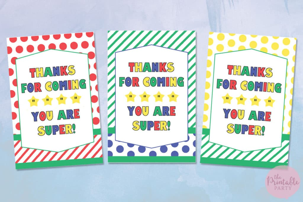 image about Thank You Gift Tags Printable identified as Tremendous Mario Bash Themed No cost Printable Bash Decorations