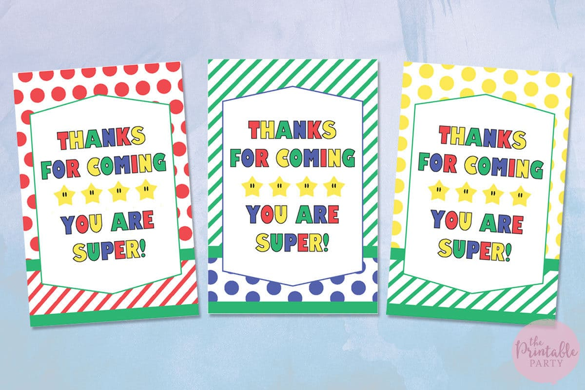 Free Printable Super Mario Thank You Gift Tags