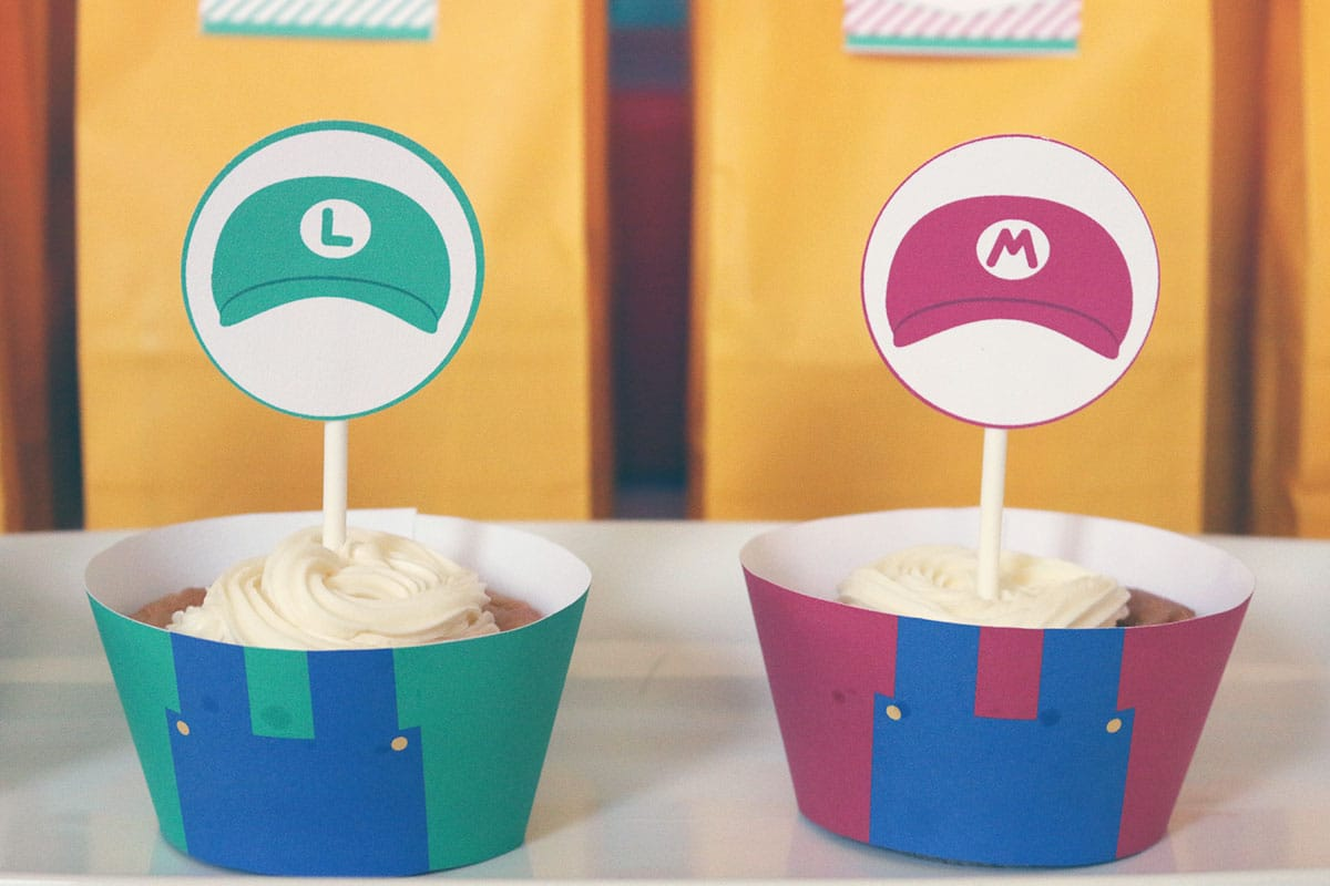 Super Mario Free Printable Cupcake Wrappers and Toppers