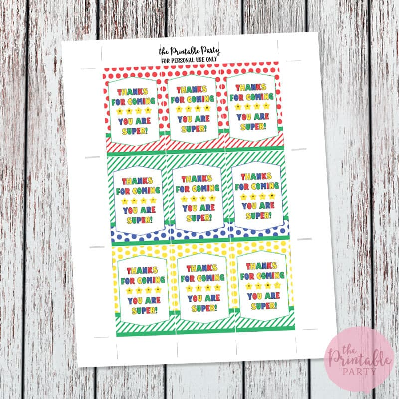 Free Super Mario Party Printable Thank You Gift Tags